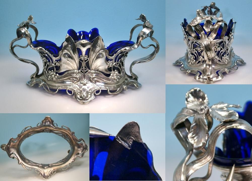 wmf jugendstil jardiniere butterfly schmetterling blauer glaseinsatz ebay. Black Bedroom Furniture Sets. Home Design Ideas
