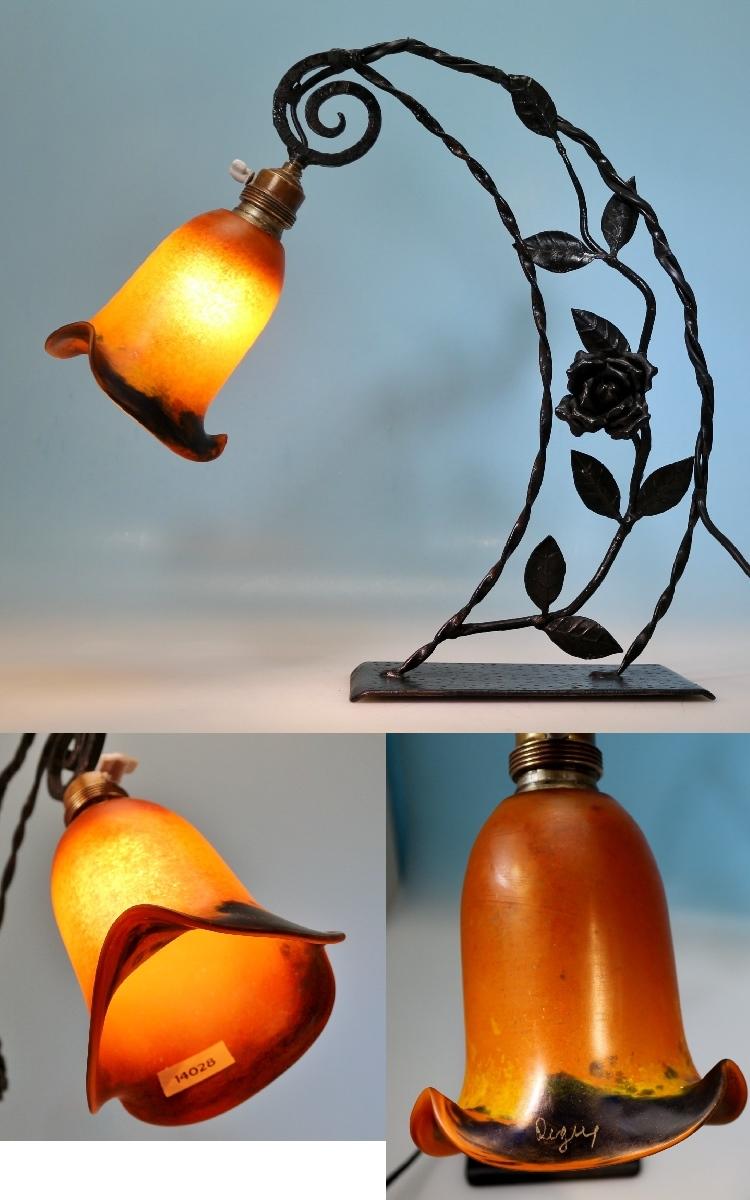 Art deco lampe degu eisengestell p te de verrre glas for Art deco lampe
