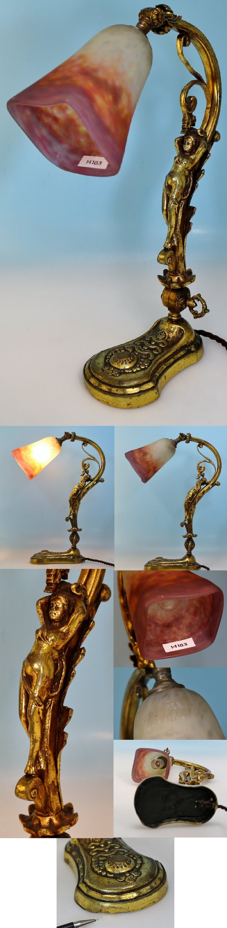 jugendstil lampe muller freres lun ville p te de verre glas figurenstand ebay. Black Bedroom Furniture Sets. Home Design Ideas