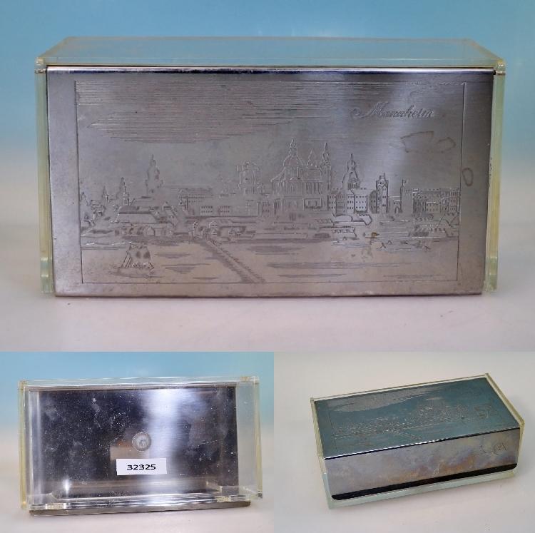 wmf servietten box plexiglas dose mit versilbertem klappdeckel mannheim ebay. Black Bedroom Furniture Sets. Home Design Ideas